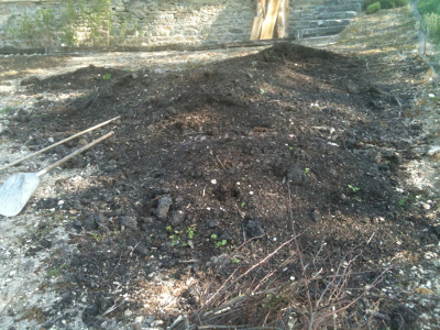 Compost used on the garden
